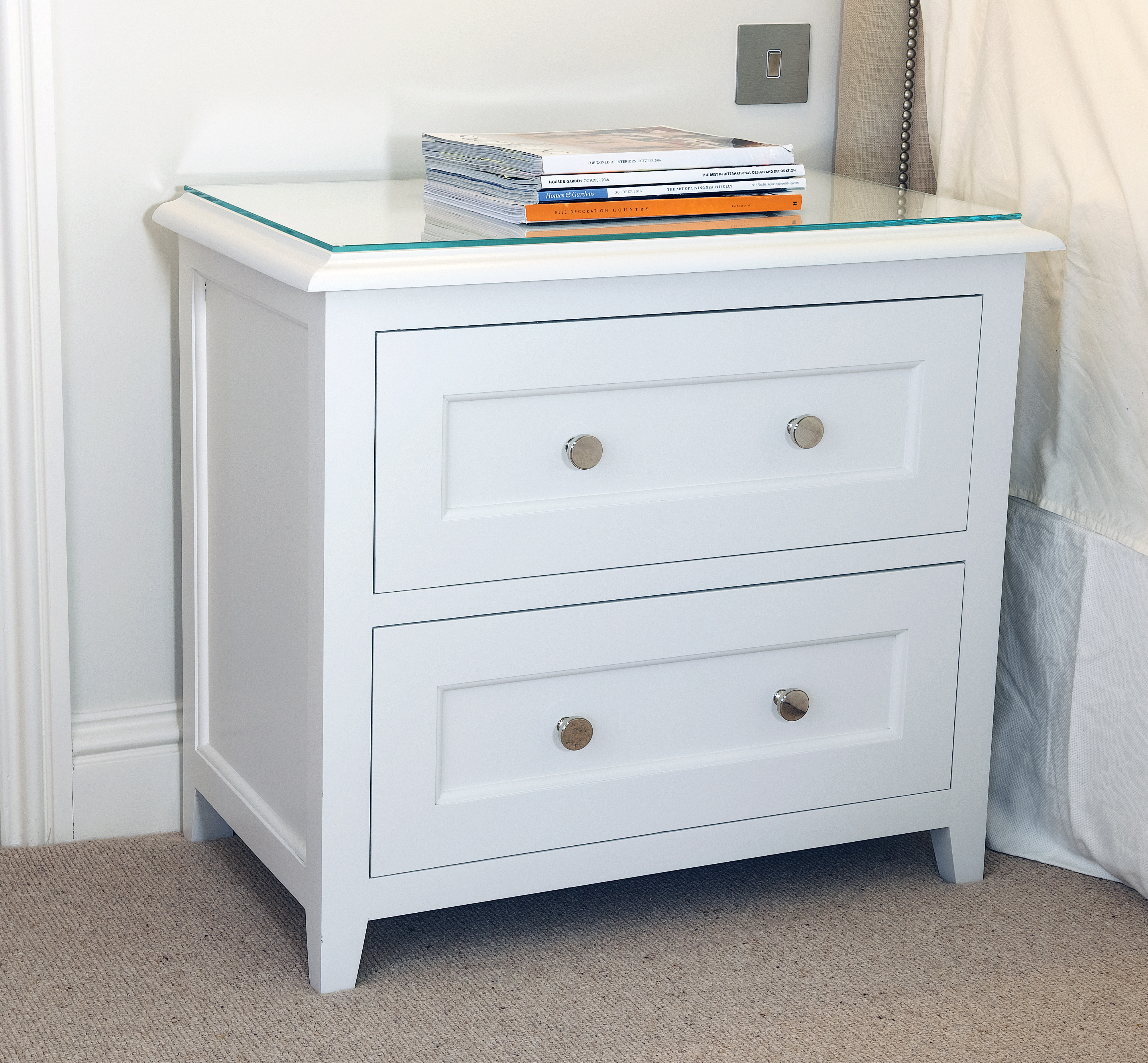 Bespoke shaker style bedside table with two drawers painted in Zoffany Quarter Paris Grey with polished chrome handles.