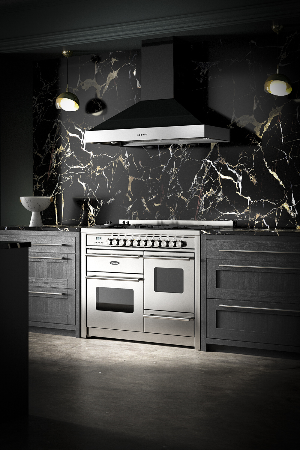 Britannia 110cm Delphi Latour hood angle 2 in black kitchen with marble splashback with black, gold and brown vein.