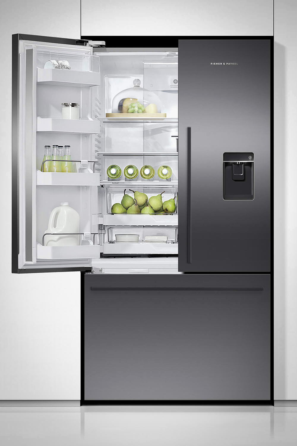 Fisher & Paykel Fridge Freezer model RF610ADUB5 with open left door and food and drinks on the shelves.