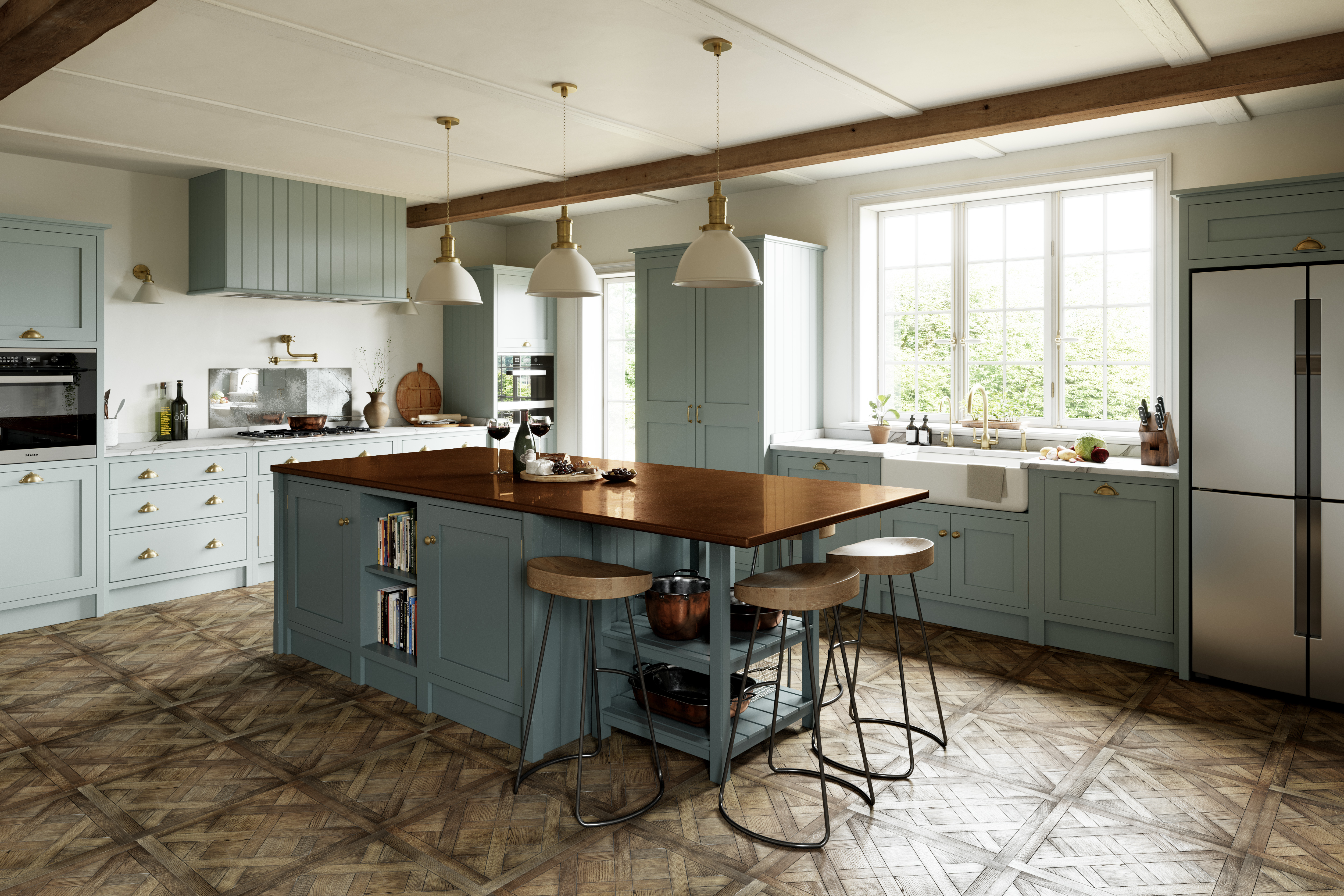 Ex display shaker style Kingham kitchen cooking elevation with miele wolf cooker and sub zero fridge