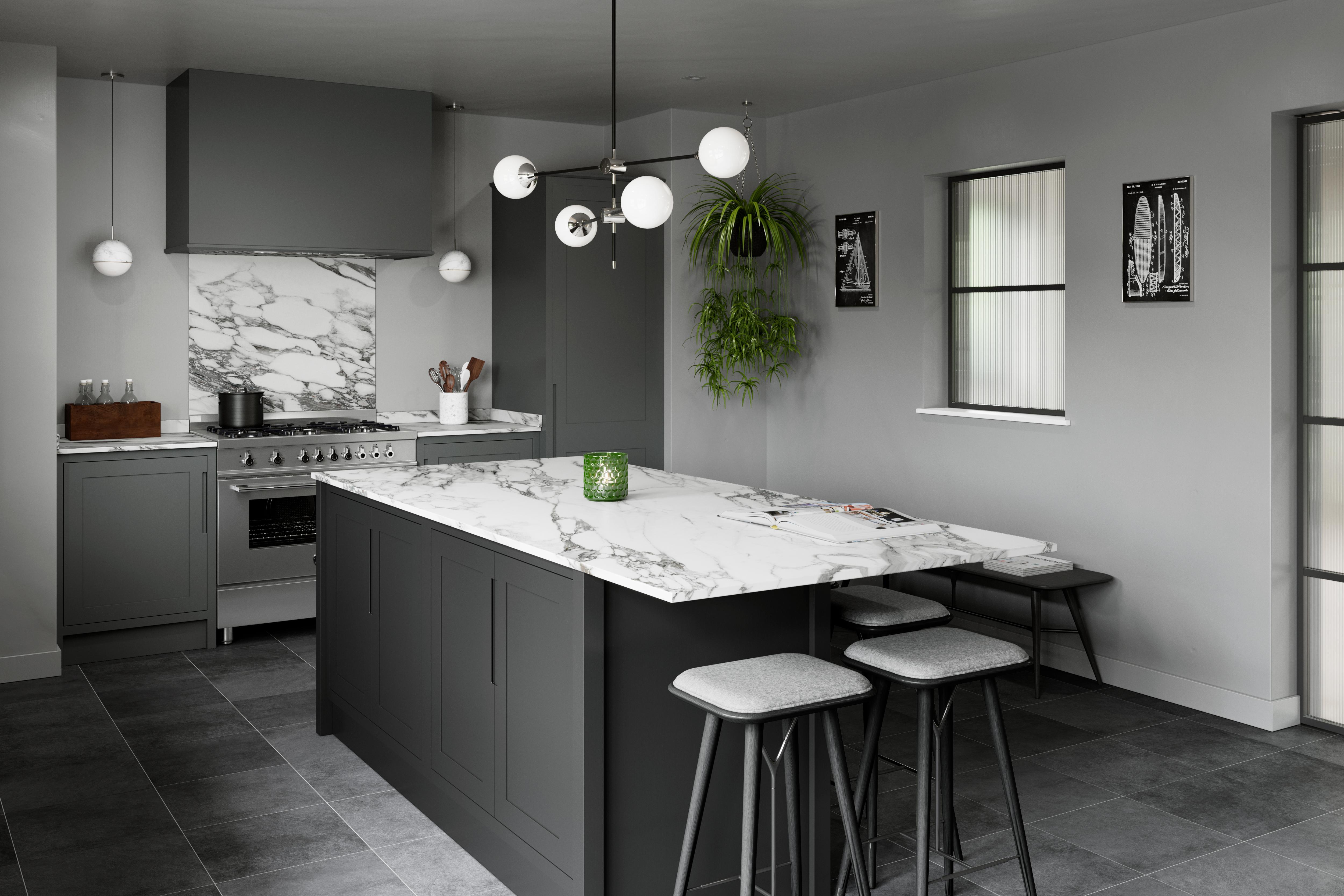 Ex display shaker style Studio CK kitchen range cooker side view