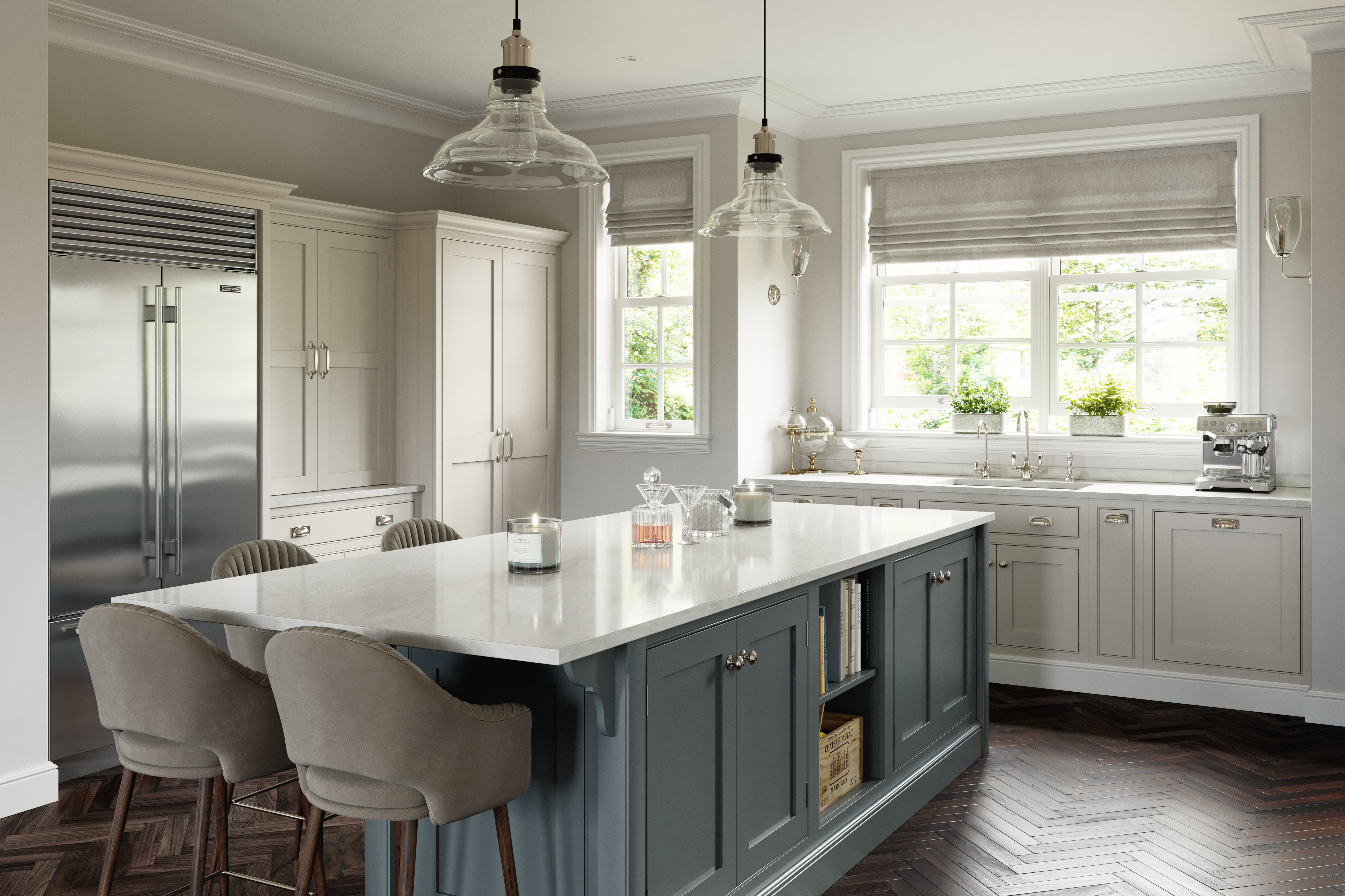 Ex display shaker style English classic kitchen sink side elevation